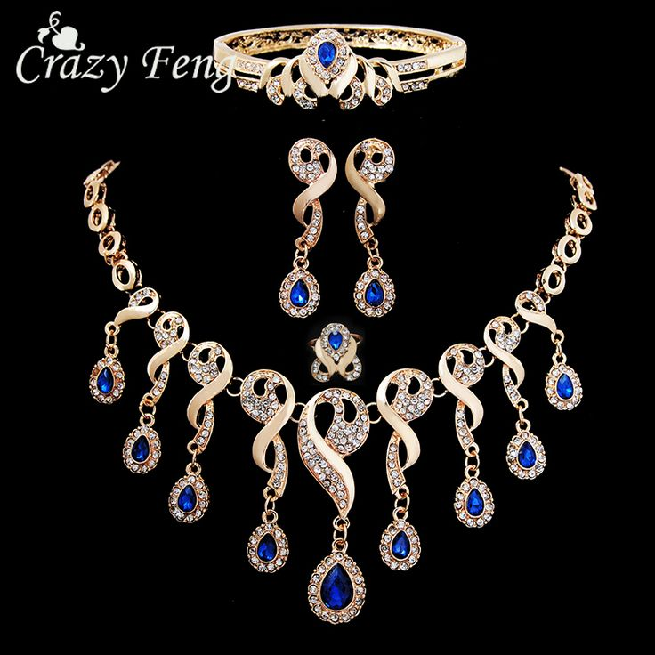 4Pcs Luxury Wedding Bridal Jewelry Sets  Gold Plated Blue Gem Stone Crystals Water Drop Beads Tassel Bib Statement Necklace