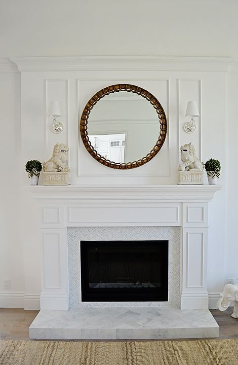 All White Wood Fireplace Paneling Carrara Marble