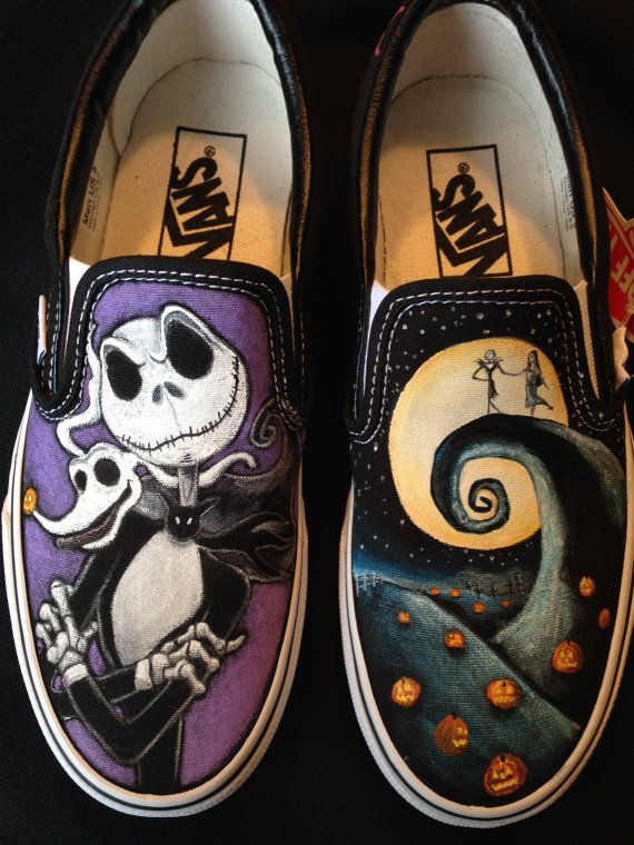 THE NIGHTMARE BEFORE CHRISTMAS inspired HIGH TOPS HAND PAINTED MADE TO ORDER