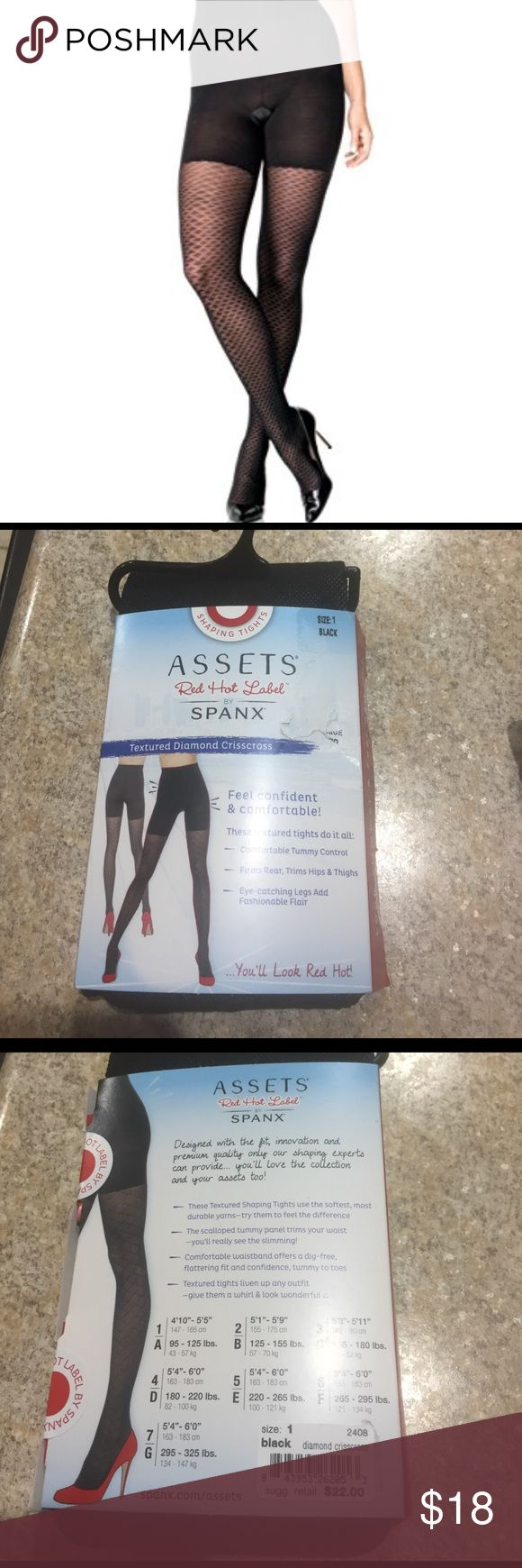 Spanx assets diamon crisscross tights shaping nwt Spanx assets diamon crisscross tights shaping nwt black various sizes available size chart above in photo SPANX Intimates & Sleepwear Shapewear