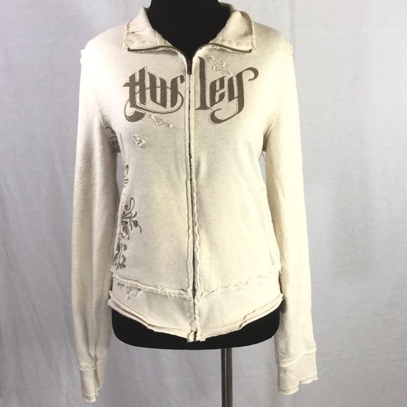 HURLEY BEIGE ZIP UP LONG SLEEVE JACKET SIZE LARGE Gorgeous Hurley hoodie. Beige with brown design. Natural frayed look. A bit worn/pilled but still in good condition. No holes or stains that I see. Size L. Hurley Tops Sweatshirts & Hoodies