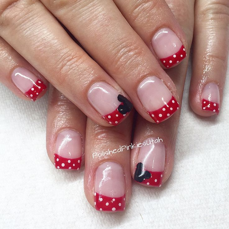 Polished Pinkies Utah: Disneyland nails! Red with white polka dots make for a simple Minnie Mouse inspired design. Add a little Mickey head poking in on the side and you are set for a trip of FUN! Gel nails, gel polish, shellac, Disney nails, vacation nails.