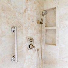 """Peregrine bathroom remodel, Colorado Springs, Ethnos Huron wall tile with """"cubby"""", Moen Vestige brushed nickel shower fixtures, Moen grab bar"""