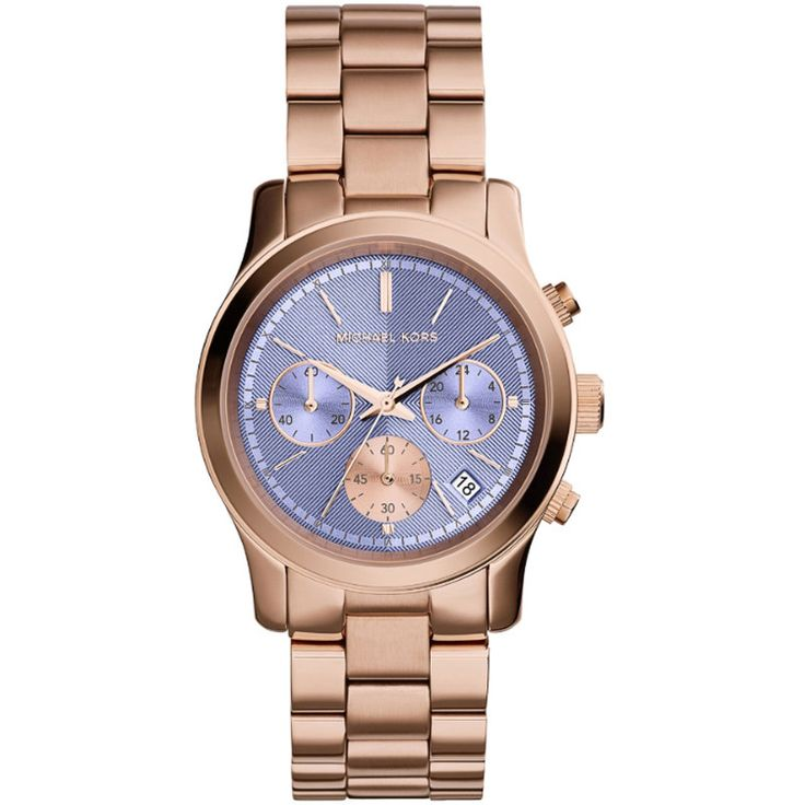 Michael Kors Runway Womens Watch Rose Gold With Purple Dial Watch