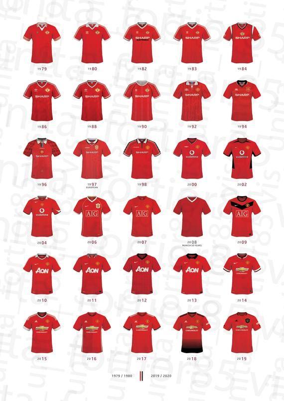 Manchester United Football Shirt History Artwork Presentation Print 1979 2019 In 2020 Manchester United Shirt Manchester United Football Manchester United