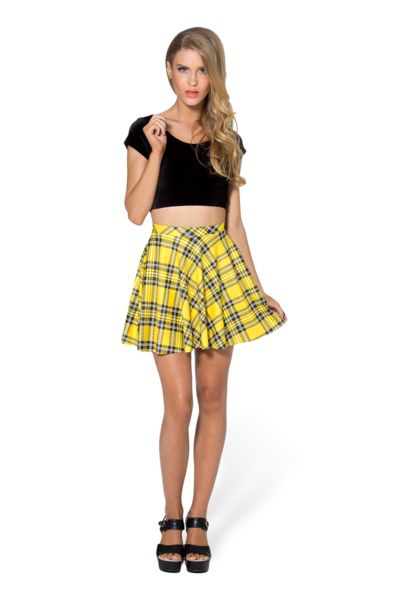Tartan Yellow Skater Skirt #BLACKMILK #BLACKMILKCLOTHING