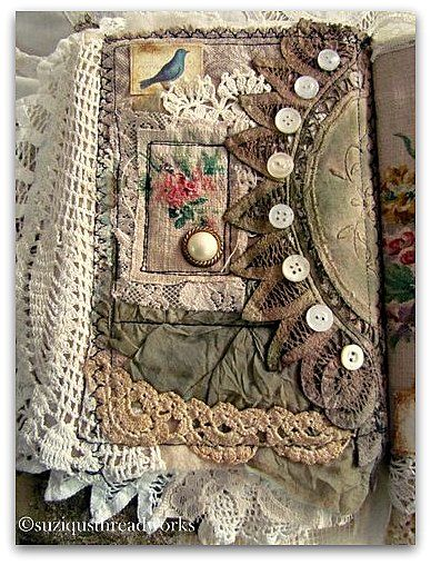 Awesome mixed media journal.  Suziqu's Threadworks