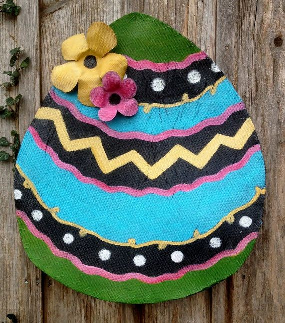 Bright Easter Egg Screen Door Decor Wreath