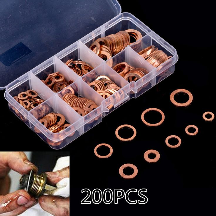 cool Great 200pcs Engine Oil Drain Plug Copper Crush Washer Seal O-Ring Gasket 9 Sizes Box 2017 2018