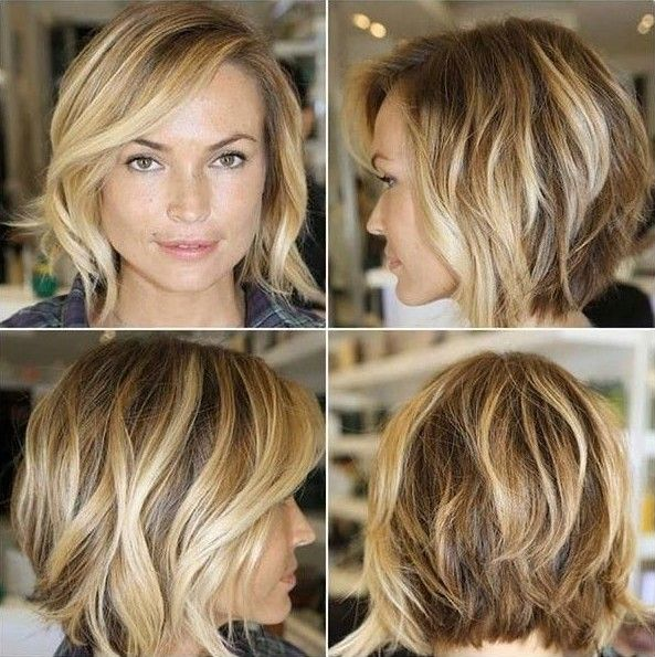 Graduated Bob with Loose Waves Her perfectly stacked graduated bob is given a burst of youthful and alluring life with some extra loose waves, her bangs having just a touch of wave to look dainty and feminine surrounding her face.