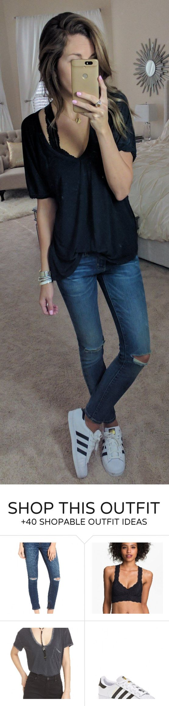 #spring #fashion /  Black Top / Destroyed Skinny Jeans / White Adidas Sneakers
