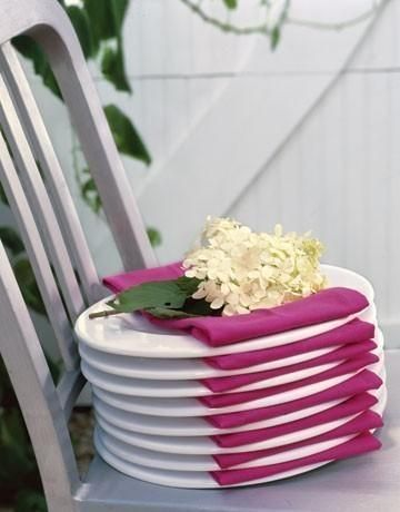 With napkins... agreat way to set up plates for a small buffet.  So simple, but so pretty!!!  :D