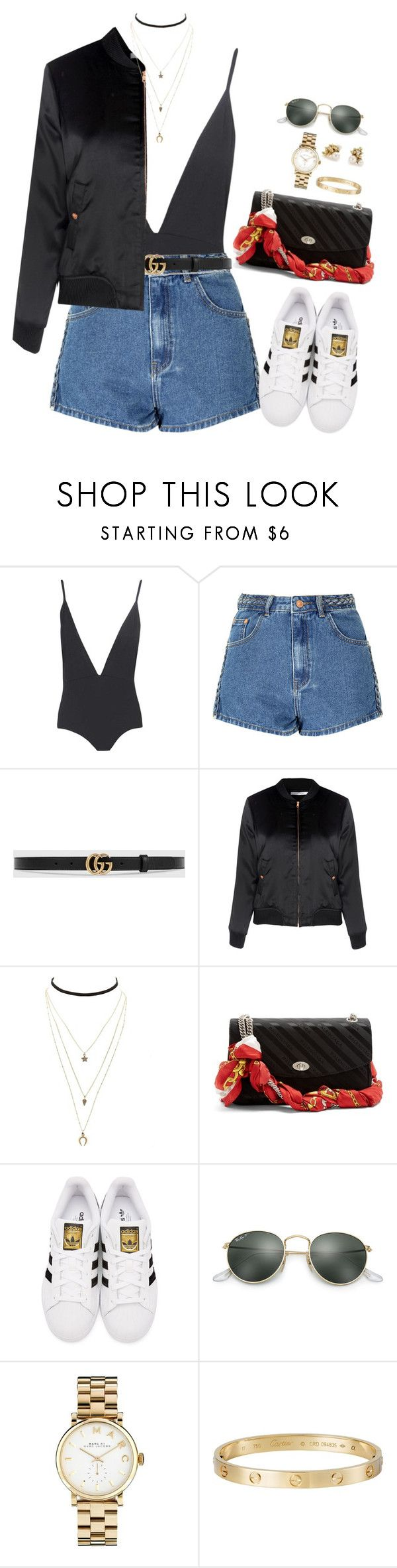 """Outfit"" by caa123 ❤ liked on Polyvore featuring Boohoo, Glamorous, Gucci, Charlotte Russe, Balenciaga, adidas Originals, Ray-Ban, Marc by Marc Jacobs, Cartier and Ruth Tomlinson"
