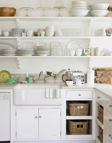 Love The Open Shelves And The Farmhouse Sink All The White And Light And The No Doors On The Lower Cabinets With Baskets To Pull Out Saves All The