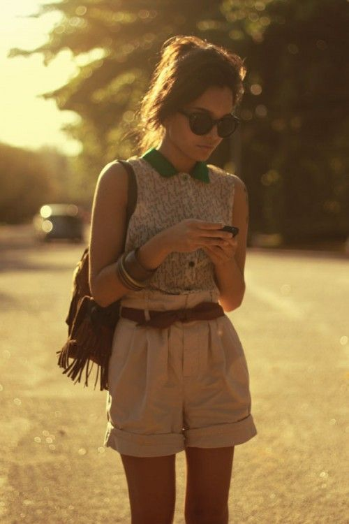 Lace shirt with collar & high waisted shorts & cute bag.