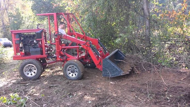 Articulating Tractor Front End Loader Clearing Brush - Homemade ...