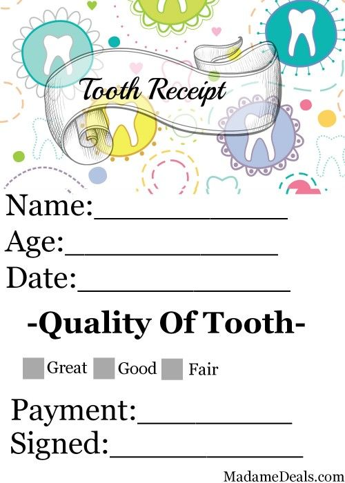 Tooth Fairy Printable Note