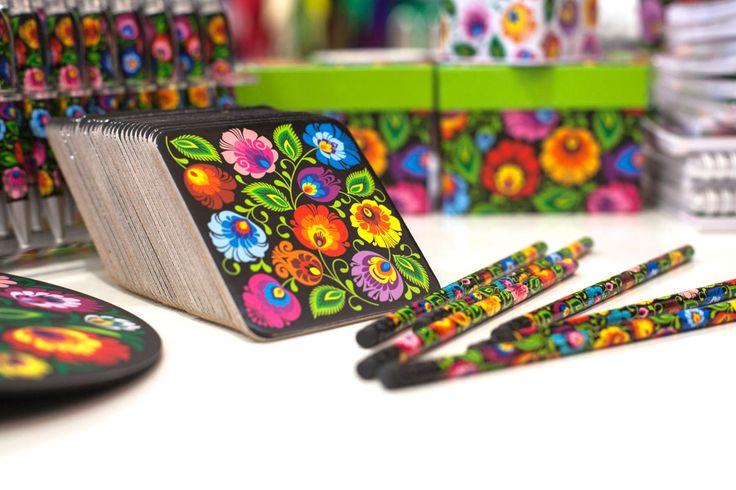 podkładki, folk, folklor, folkstar, etno, kwiatki, design, łowicz, na ludowo, ludowe, ołówki