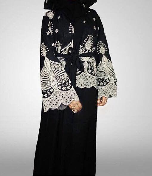 Lace Monochrome Open Abaya | Amal clothing abaya thobe khaleeji hijab jilbab niqaab jewellery