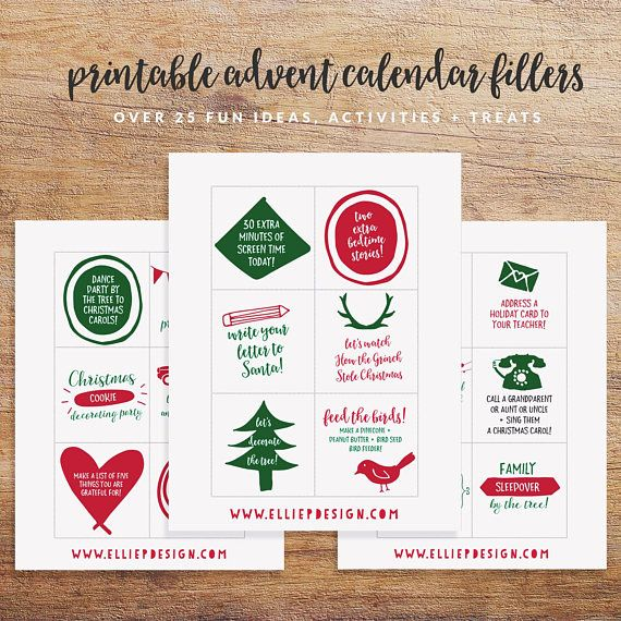 Printable Advent Calendar Fillers And Inserts Advent Etsy Advent Calendar Fillers Printable Advent Calendar Advent Calendars For Kids