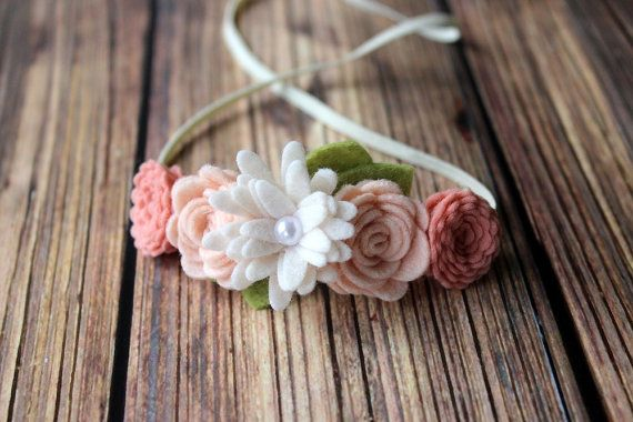 blush felt flower garland headband by muffintopsandtutus on Etsy