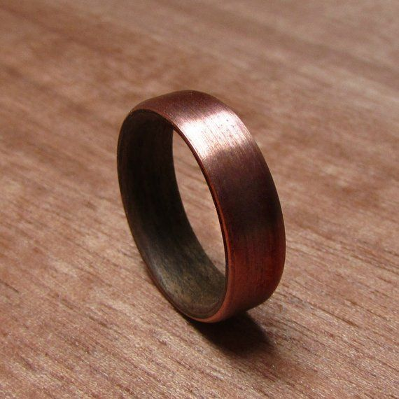 Walnut Wood And Copper Wedding Ring Rustic Mens Wedding Band 7 Year Anniversary Gift For Husband Men S Handmade Wooden Jewelry Mens Rustic Wedding Bands Copper Wedding Rings Copper Wedding Band