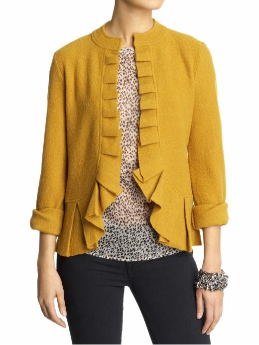This cardigan is giving me so many positive vibes---fun color, unique detailing, boiled wool.  Mine, please?