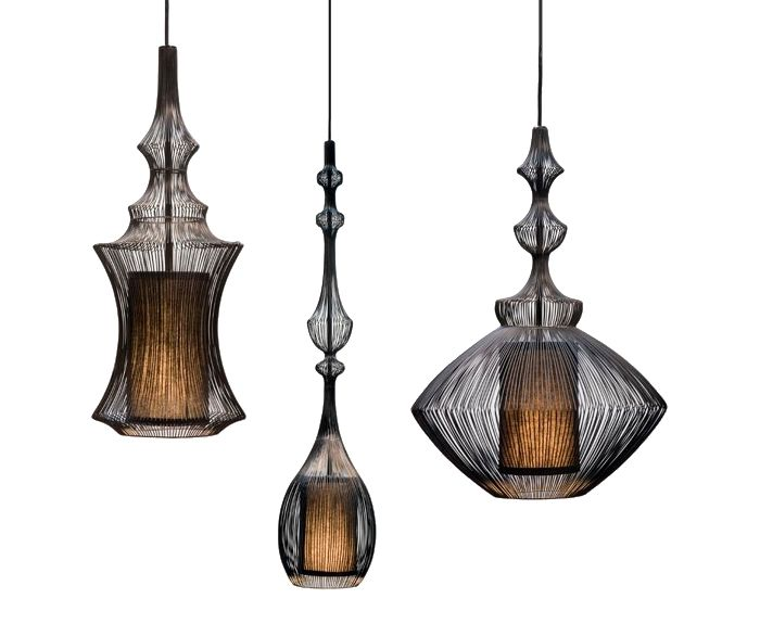 The Moire Lighting Collection by Shine Labs.  Tibet, Opium & Emperor Pendants.