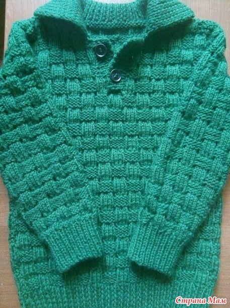 Пуловер поло для мальчика спицами