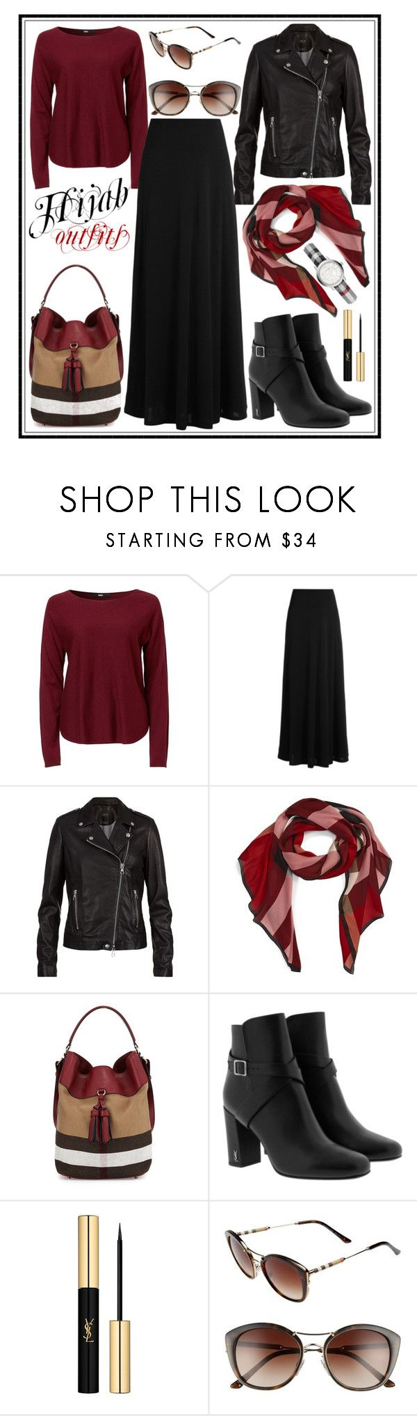 """""""#Hijab_outfits #Burberry"""" by mennah-ibrahim ❤ liked on Polyvore featuring The Row, SET, Burberry and Yves Saint Laurent"""