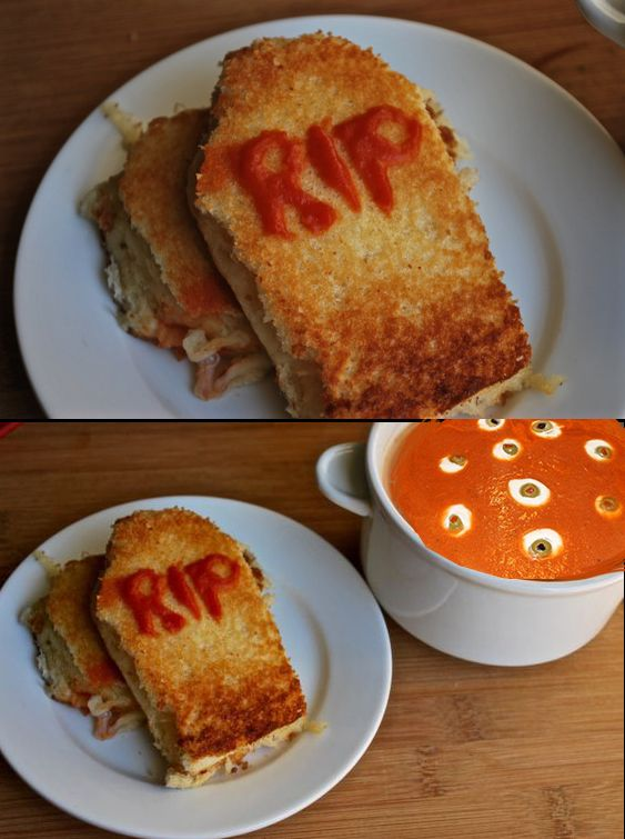 recipe tombstone grilled cheese sandwich with bloody tomato soup vintage halloween comfort food