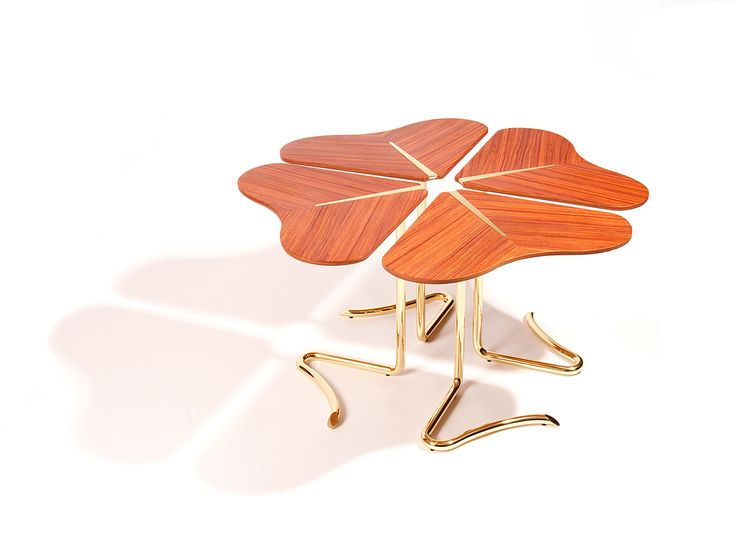 #INSIDHERLAND Four...For Luck Center Table by Joana Santos Barbosa. According to the Legend, each leaf has a meaning: Hope, Faith, Love and Luck. #exclusive #design #organic #gold #brass www.insidherland.com