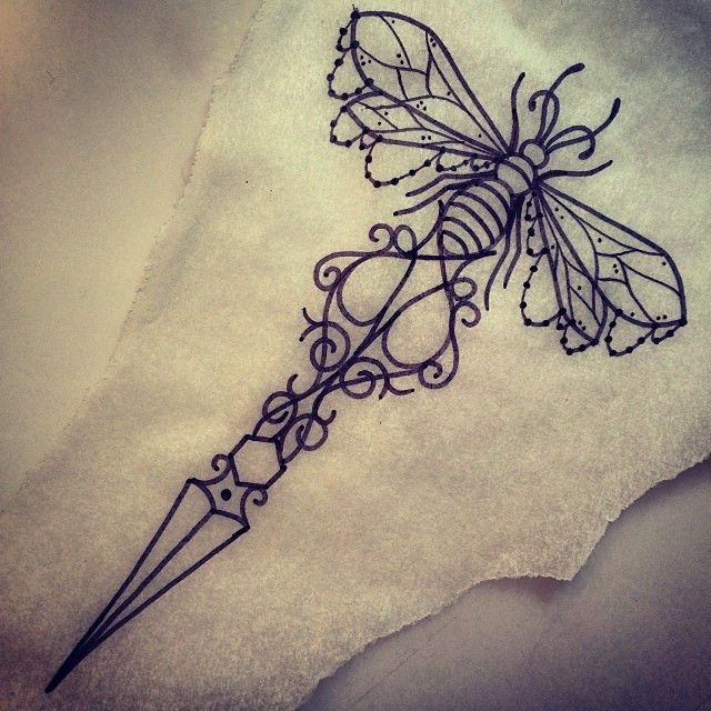 Outline Bee Knife Tattoo Design