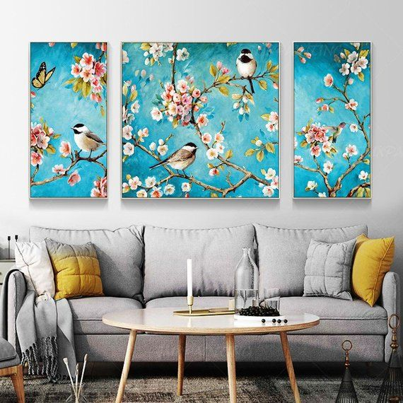 Framed Wall Art 3 Pieces Original Birds And Flower Landscape Blue Painting Set Of 3 Wall Art Oil Floral Paintings On Canvas Landscape Paintings Acrylic Acrylic Painting Canvas Wall Canvas
