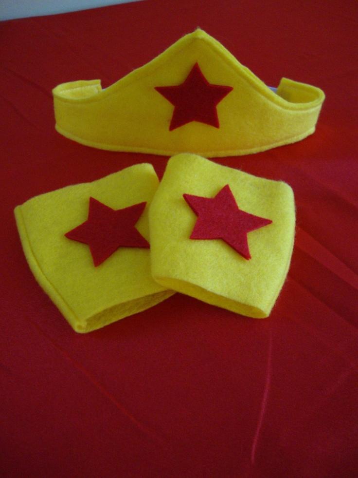 Sale Wonder Woman Tiara and Cuffs in Felt for girls. $8.25, via Etsy.