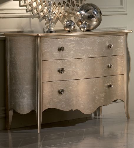 The Allure Three Drawer Chest In Champagne Silver Leaf, Offering The  Ultimate In Style And