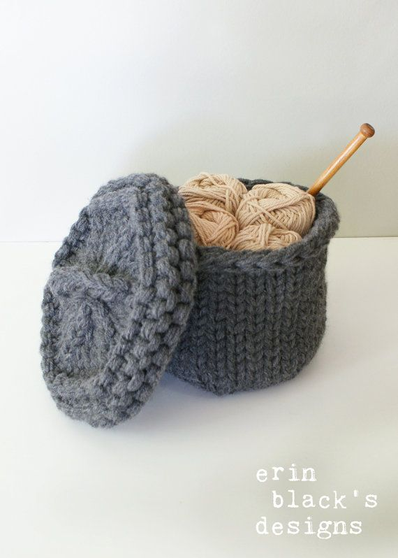 Erin Black's Designs: Chunky Knit Lidded Baskets Knitting Pattern available on Etsy
