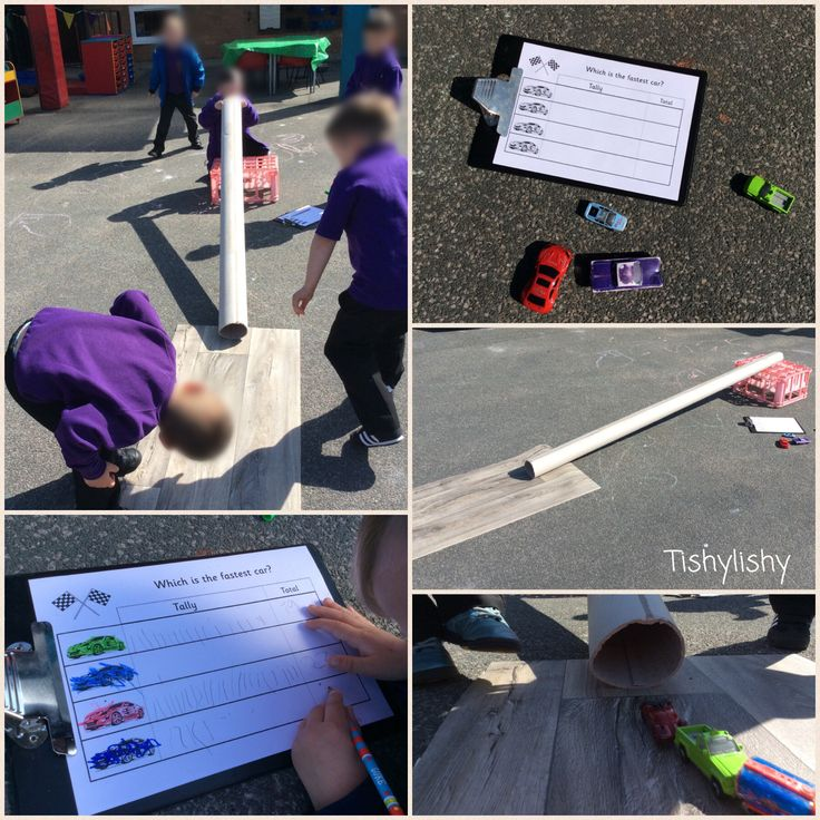 Which car is the fastest? A tube, a couple of crates, some cars and a recording sheet.