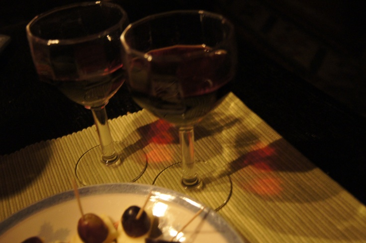 Earth hour meal; quality cheeses with red wine and grapes
