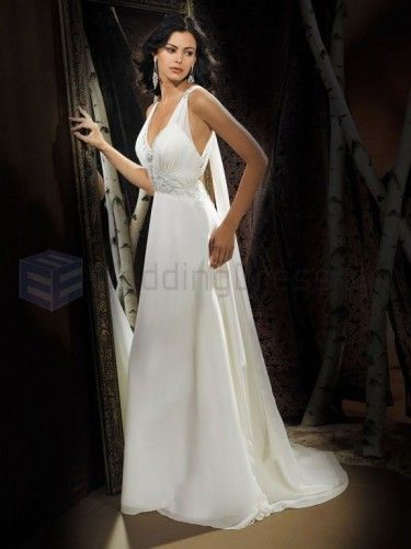 A-line Georgette Delicately Pleated Bodice V-Neckline Sweep Train Wedding Dresses