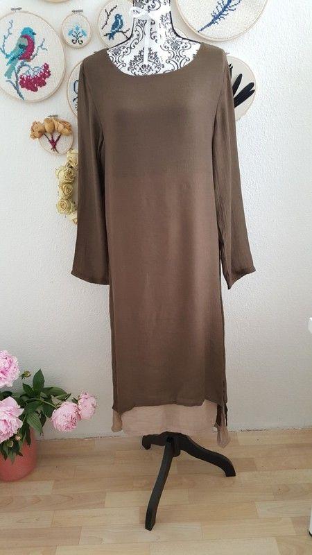 Maxikleid lang Kleid langarm braun beige nude Tunika A-linie  boho