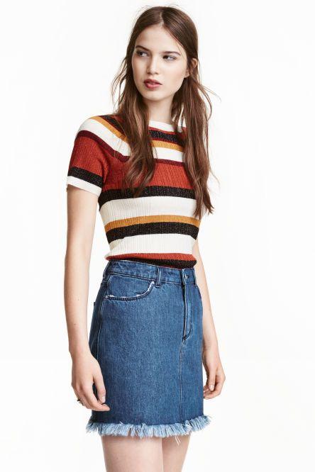 Rib-knit short-sleeved jumper