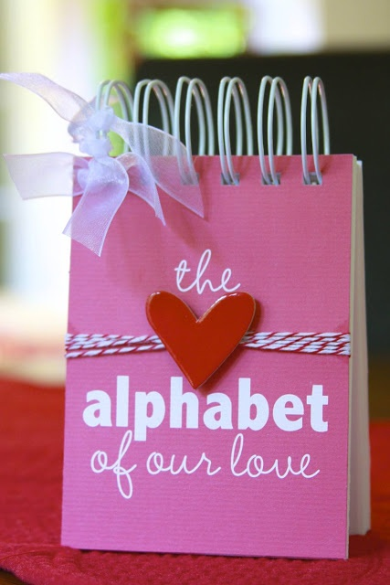 You've heard about the '52 reasons I love you book' (completed on a deck of cards) ... This one is done with the alphabet so it's only ½ has many, but they're alphabetized. Such a sweet idea!