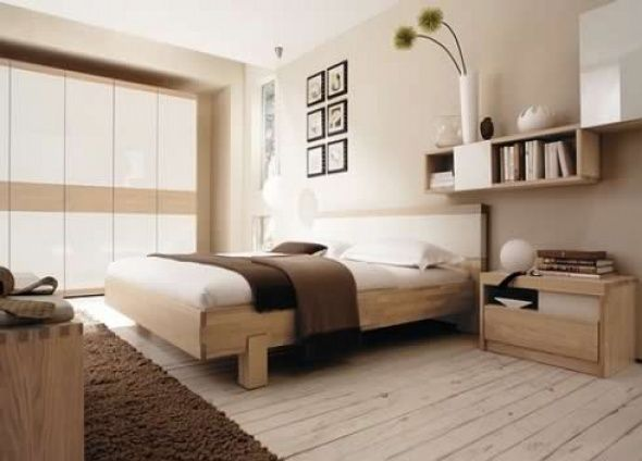 Beautiful Inspiring Warm Bedroom Decorating Ideas By Huelsta : Modern Bedroom Design By Huelsta With Brown And White Bed Pillow Blanket Wool Carpet Wooden Furniture ... Home Design Ideas
