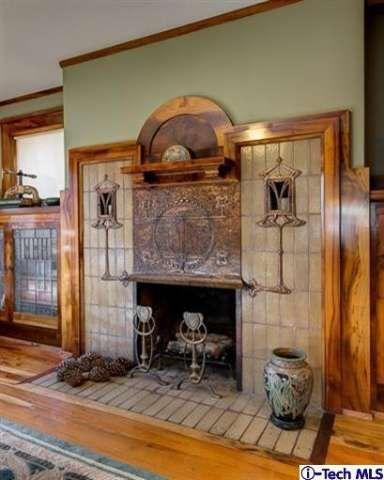 Arts and Crafts Bungalow   Fireplace    1908 Lewis J. Merritt Mansion on Pasadena's Millionaires Row   Stickley, Roycroft, Marie Zimmermann, Dirk Van Erp, Limbert