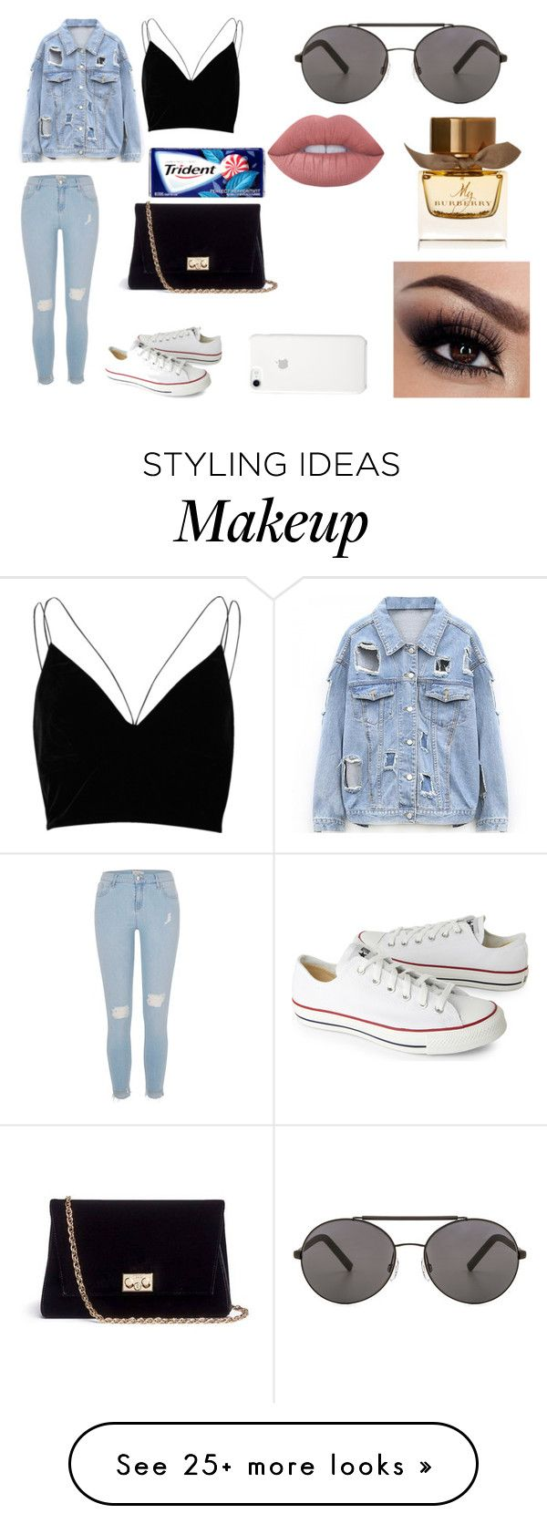 """Day Out With Babe"" by sadgalnika on Polyvore featuring River Island, Converse, Rodo, Seafolly, Lime Crime and Burberry"