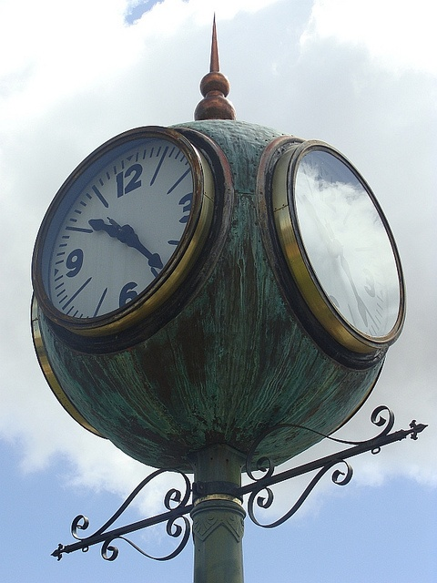 Old clock on Mission street, in Solvang, California