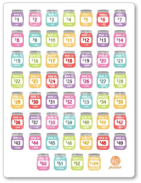 Rainbow ORIGINAL 52 Week Savings Challenge Planner Stickers