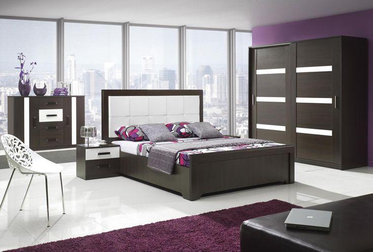 Complete slaapkamer set Orlando Dark kleuren Wengé / Hoogglans wit