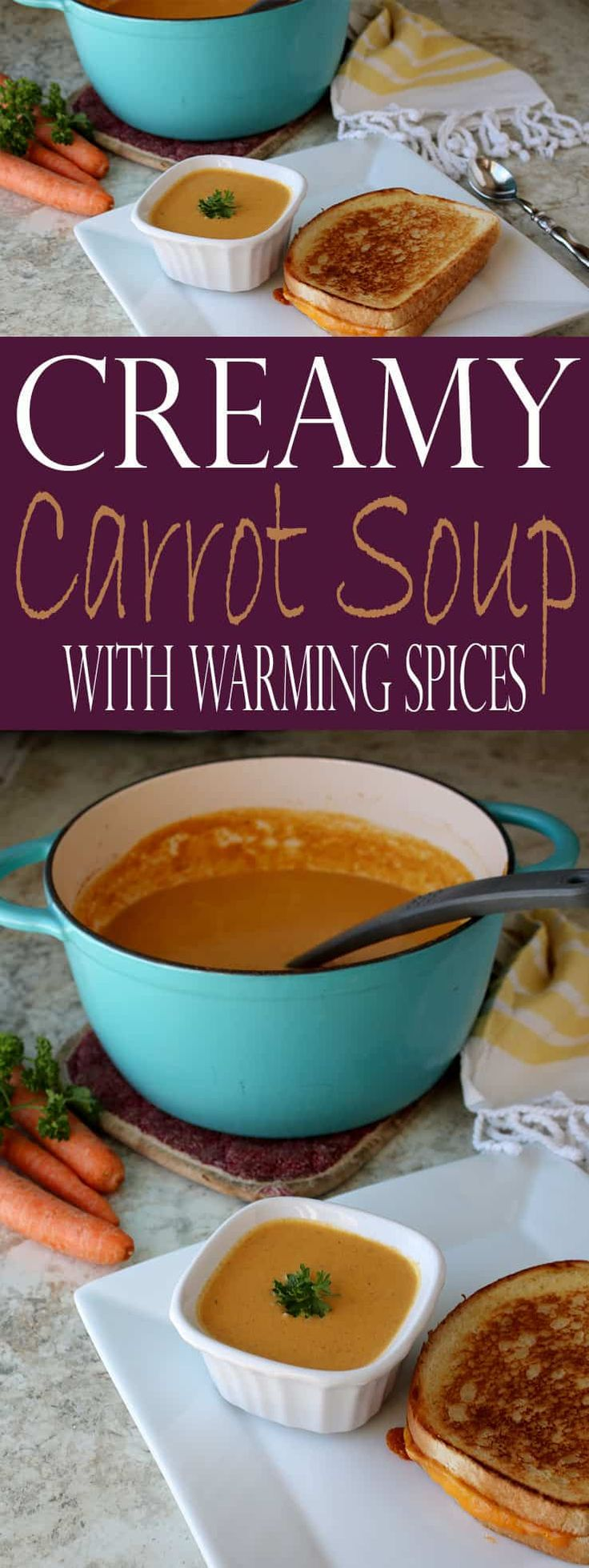Creamy Carrot Soup with Warming Spices is a warming soup recipe (with step by step photos) you'll find yourself making over and over again in the colder months. The sweetness of the carrots pairs perfectly with the sweet-spiciness of ginger, cinnamon, cumin, and allspice. #souprecipes #roasted #fallflavors #warmingspices